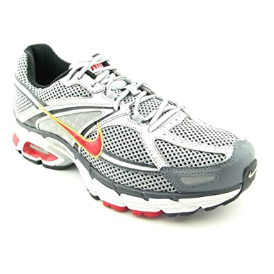 Nike Men's NIKE AIR MAX MOTO+ 6 RUNNING SHOES 10.5 (MET SILVER/SPORT RED-ANCHRCT)