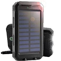 Solar Charger, Solar Panel Portable 8000mAh Dual USB Solar Battery Charger Power Bank Phone Charger with LED Light (Black)