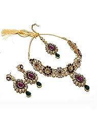 Kundan Necklace Set Meena Polki Jade Jadau Ad One Gram Gold Plated Real Diamond Look Beauty Natural WithTika 5330...