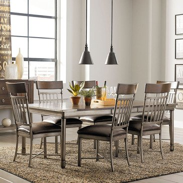 Standard Furniture Hudson 7 Piece Extension Dining Room Set in Rustic Dark Cherry