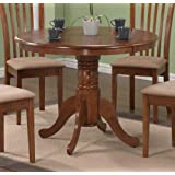 Pedestal Round Dining Table Dark Oak Finish