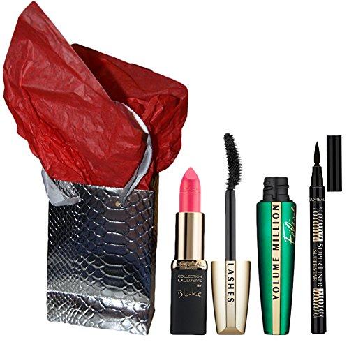 Cofanetto regalo Noel l' oreal-Mascara Feline + Eye Liner Superliner Nero + Rosso Labbra color riche a scelta + scatola + carta seta