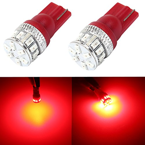 Alla 194 168 2825 175 W5W 158 161 192 T10 Wedge Super Bright High Power 3014 18-SMD LED Lights Bulbs for License Plate Interior Map Dome Door Courtesy Trunk Cargo Area Exterior Side Marker Light (Red) (2006 Toyota Corolla Interior compare prices)