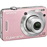 Sony Cybershot DSCW55 7.2MP Digital Camera with 3x Optical Zoom (Pink) (OLD MODEL)