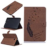 Samsung Galaxy Tab E 9.6 Case, C-Super Mall Embossed Birds & Feather Pattern PU Leather Wallet Stand Flip Case for Samsung Galaxy Tab E 9.6 / Nook SM-T560 T561 T565 T567V (brown) (Color: brown)