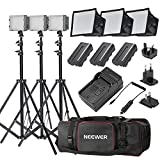 Neewer 3x 160 LED light kit Dimmable Ultra High Power Panel Digital Camera/Camcorder Video Kit,Includes:(3x)CN-160+(3x)5.9
