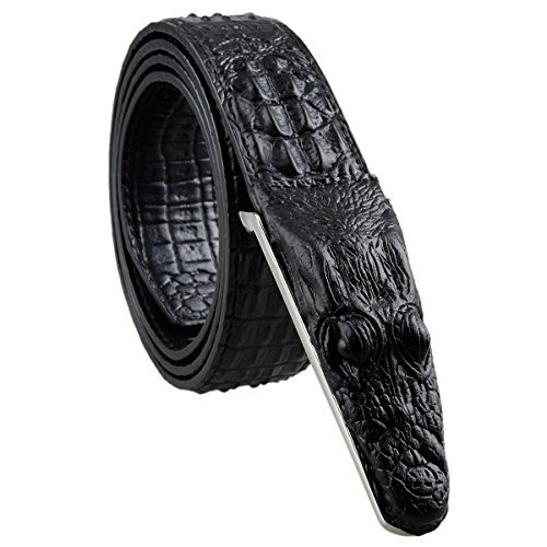 Samtree Mens Adjustable Leather Belt Embossed Alligator Plaque Buckle(Black) (Alligator Belt Black compare prices)