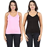 Dansik Women's Multicolor Camisole(Pack of 2)