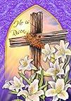 8220He Is Risen Cross Crown of Thornes Lilies 128243x188243
