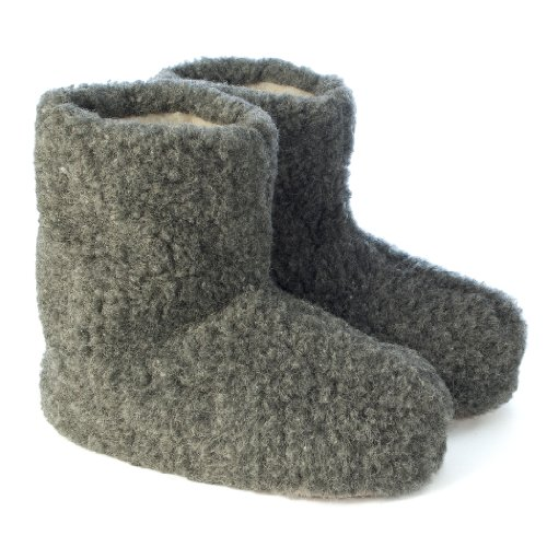woolsies-yeti-natural-wool-slipper-booties-chaussons-montants-adulte-mixte-gris-graphitgrau-44