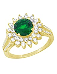Yellow Gold Plated Pure 925 Sterling Silver Simulated Emerald And Diamonds Cluster Ring