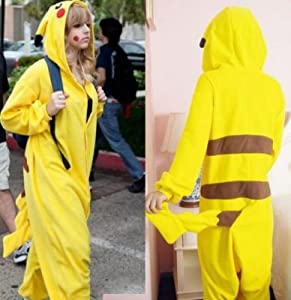 "Super9COS Pokemon Pikachu Kigurumi Pajamas Adult Anime Cosplay Halloween Costume ,size XL (70""-74"") by super9COS"
