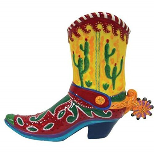 6 Inch Multi Colored Cactus Cowboy Boot Painted Ceramic Piggy Bank