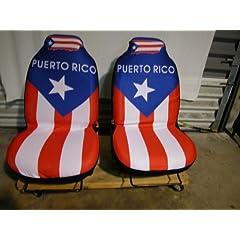 Buy (2 Piece) Puerto Rico Car Seat Cover Small Car Vehicles Bucket Flag Seats by Mini Bear Gems