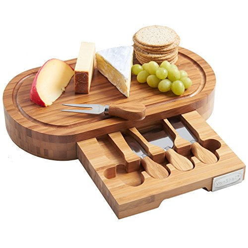 Tuk789 VIP Japaneses Style Bamboo Cheese Board and 4 Piece Knife Set (Bamboo Leaf Cheese Board compare prices)