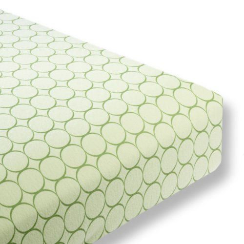 SwaddleDesigns Cotton Flannel Fitted Crib Sheet, Jewel Tone Mod Circles, Pure Green