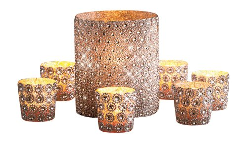 KnlStore Set of 7 Silver Beaded Elegant Sparkling Gems Pillar & Votive Candle Holder Centerpiece Decoration