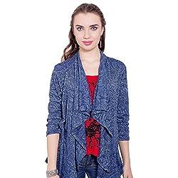 TUNTUK Women's Flori Shrug Blue Viscose Shrug