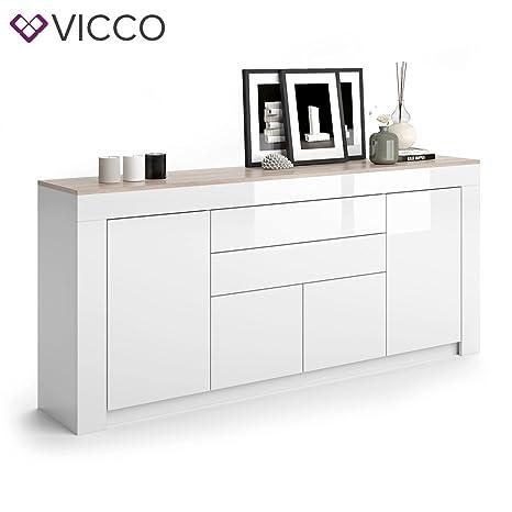 VICCO Sideboard MILAN in Weiß Hochglanz - 190 cm Kommode Schrank Anrichte Diele Flur Highboard Mehrzweckschrank