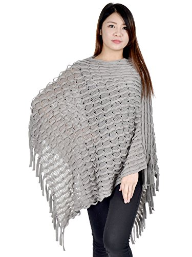[Simplicty Stylish and Ultra Comfortable Poncho w/ Fringe Detail, Grey2] (Emo Rocker Costume)
