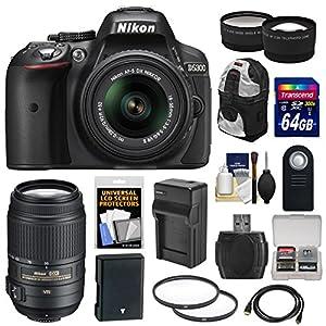 Nikon D5300 Digital SLR Camera & 18-55mm VR II Lens (Black) with 55-300mm VR Lens + 64GB Card + Battery & Charger + Backpack + Tele/Wide Lens Kit