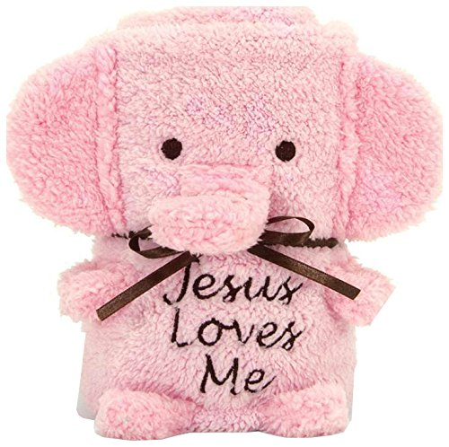 Elephant Blankie Pink with Jesus Loves Me - 1