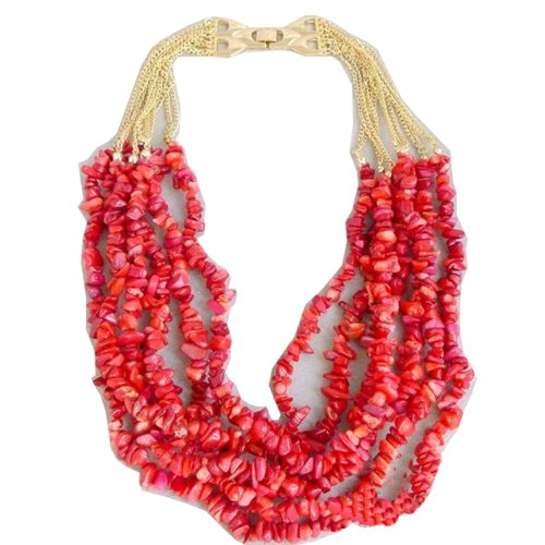 Wiipu Luxury Red Coral Bead Multilayer Dangle Necklace Inlay Shining Crystal(D740)