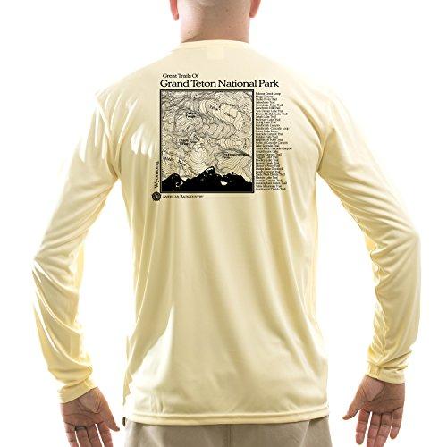 American Backcountry Men's Grand Teton National Park UPF Long Sleeve T-shirt Large Pale Yellow