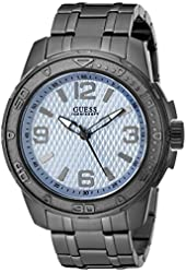 GUESS Men's U0681G3 Sporty Grey Watch with Sky Blue Dial