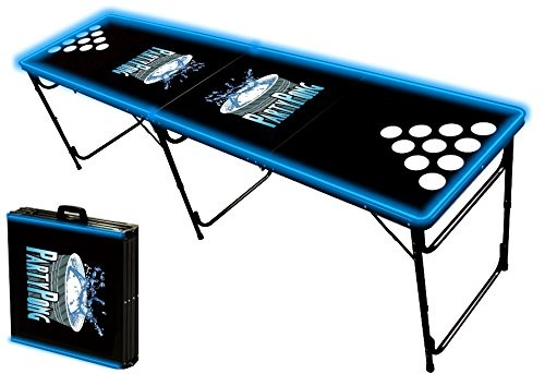 8-Foot Professional Beer Pong Table w/ Holes & Glow Lights - Party Pong Logo
