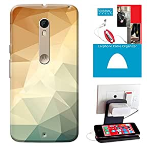 KanvasCases Printed Back Cover For Motorola Moto X Style + Earphone Cable Organizer + Mobile Charging Holder/Stand