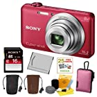 SONY Cyber-shot DSC-WX80/R Compact Zoom Digital Camera in Red + 16GB Secure Digital Memory Card + Sony Case in Pink + Sony Drawstring Style Case + 25 Free Quality Photo Prints + Lithium Ion Rechargeable Battery + Enhanced Lens Cleaning Kit