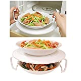 Plastic Double Layer Kitchen Dishes Plate Holder Stand Rack For Microwave Oven Red+White