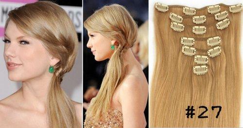Clip-In-Extensions für komplette Haarverlängerung - hochwertiges Remy-Echthaar - 70g - 38 cm -7tlg- Nr.27 Strawberry Blonde