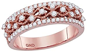 10kt Rose Gold Womens Round Natural Diamond Roped Woven Band Fashion Ring (.50 cttw.)