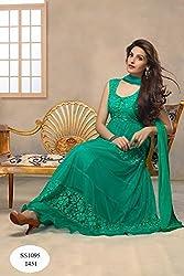JJR Store Designer Green Net Embroidered Dress material