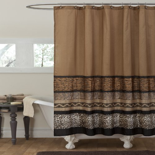 Lush Decor Tribal Dance Shower Curtain, Brown