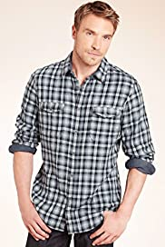 "2"" Longer North Coast Pure Cotton Double Face Ombre Checked Shirt"