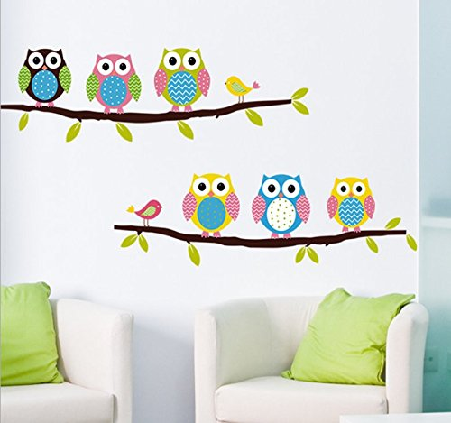 Beautiful Wall Decals Stickers Paper Removable Home Living Dinning Room Bedroom Kitchen Decoration Art Murals Diy Stick Girls Boys Kids Nursery Baby Room Playroom Decorating (Lovely Owls)