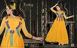 pakeeza libas yellow net gown