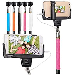 Casotec Selfie Stick with Mirror for Rear Camera Shoot, wired Remote Shutter Button Extendable Handheld Monopod for IOS Android - Baby Pink