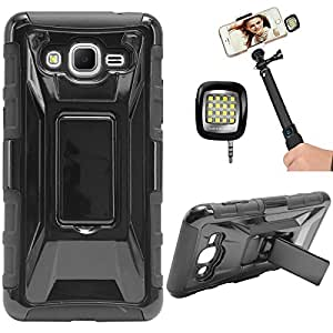 DMG Tough Polycarbonate Hard Back Defender Cover Case with Stand for Samsung Galaxy J7 J700 (Black) + 3.5mm Continuous LED Spotlight Flash