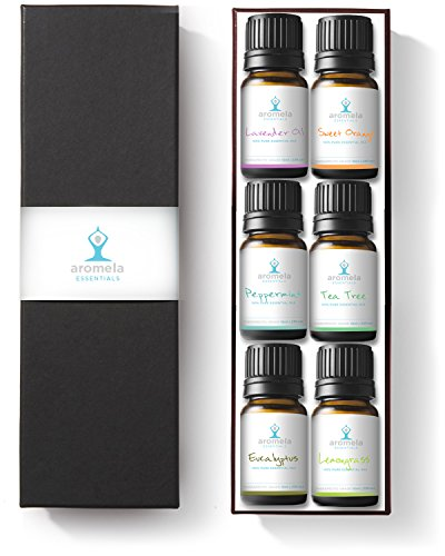 Aromela-Essential-Oils-Aromatherapy-Gift-Set-100-Pure-Therapeutic-Grade-Guaranteed-Premium-6-Bottles-of-10ml-Peppermint-Lavender-Sweet-Orange-Eucalyptus-Lemongrass-Tea-Tree