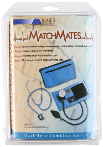 Matchmates Aneroid Sphygmomanometer And Dual Head Stethoscope Combination Kit With Calibrated Nylon Cuff, Black front-111772