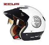 ZEUS ゼウス ヘルメット バイクヘルメット オープンフェイス ジェット 半帽 ハーフ パイロット シールド付 メンズ レディース XL(58-59cm)