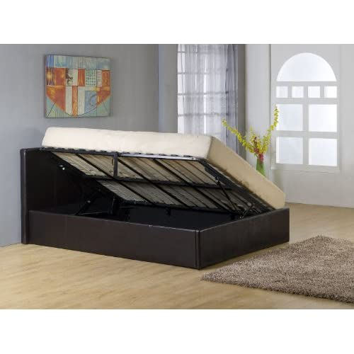 bedsandbeds limited, Black 3ft Single Faux Leather Side Lift Up Ottoman Storage gas lift up Bed Frame