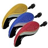 Andux ゴルフ ハイブリッド クラブヘッドカバー 交換可能な番号タグ付き 3個セット 3カラー色違い