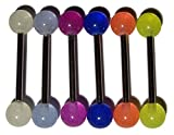 Lot of 6 Glow in the Dark Barbell Tongue Rings 14g 5/8