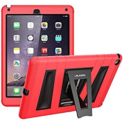 i-Blason Apple iPad Air / iPad 5 ArmorBox 2 Layer Convertible [Hybrid] Full-Body Protection KickStand Case with Built-in Screen Protector for Kids Friendly (Red/Black)