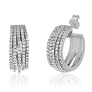 18K White Gold Over Sterling Silver Cubic Zirconia 5-Strand Huggie Hoop Earrings